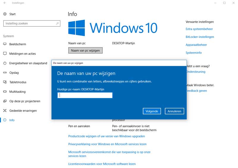 Nieuwe computernaam voor Windows 10.