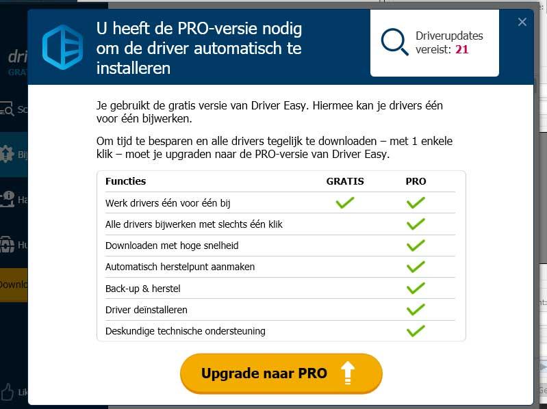 De gratis versie van Driver Easy kent een aantal beperkingen.
