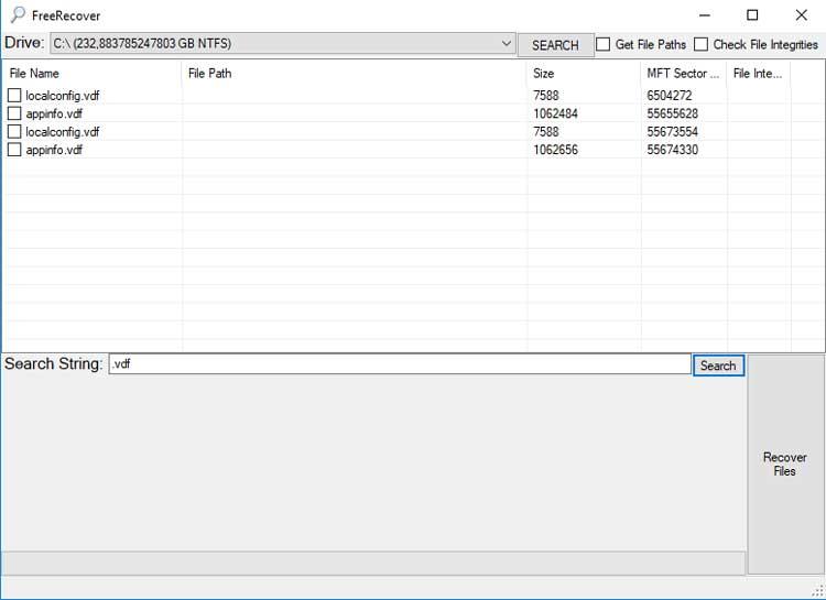 De interface van FreeRecover is simpel en duidelijk.