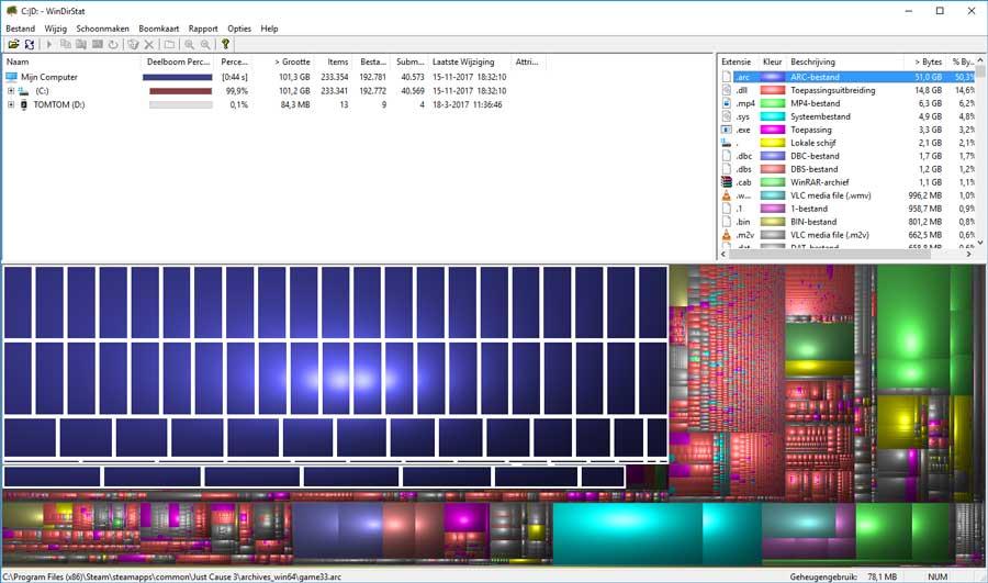 Door middel van kleurcodes kun je zien welke bestanden de meeste ruimte innemen op je computer.