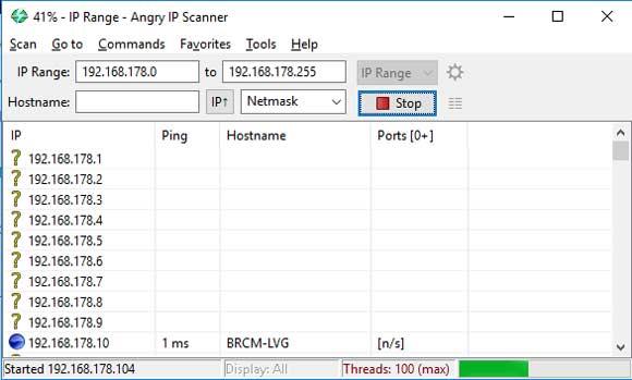 Automatisch kun je een hele range aan ip-adressen scannen.