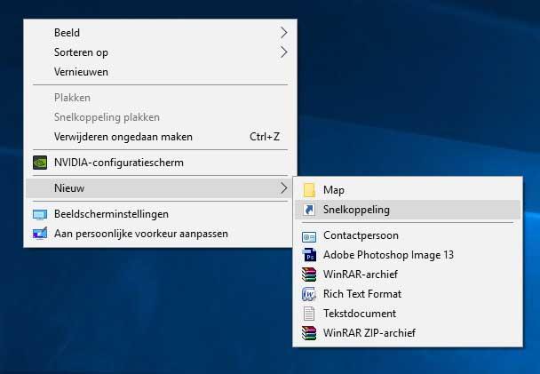 Kies 'nieuw' > 'snelkoppeling' om een nieuwe snelkoppeling te maken op je desktop.