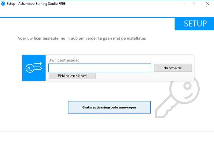 Vraag via de link / button een gratis activatiesleutel aan.