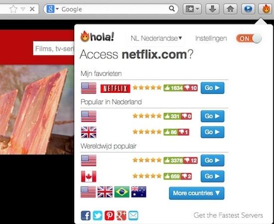 Hola bedien je eenvoudig via de browser.