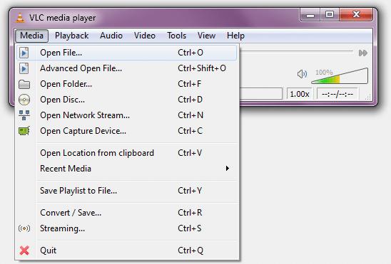 VOB afspelen met VLC.