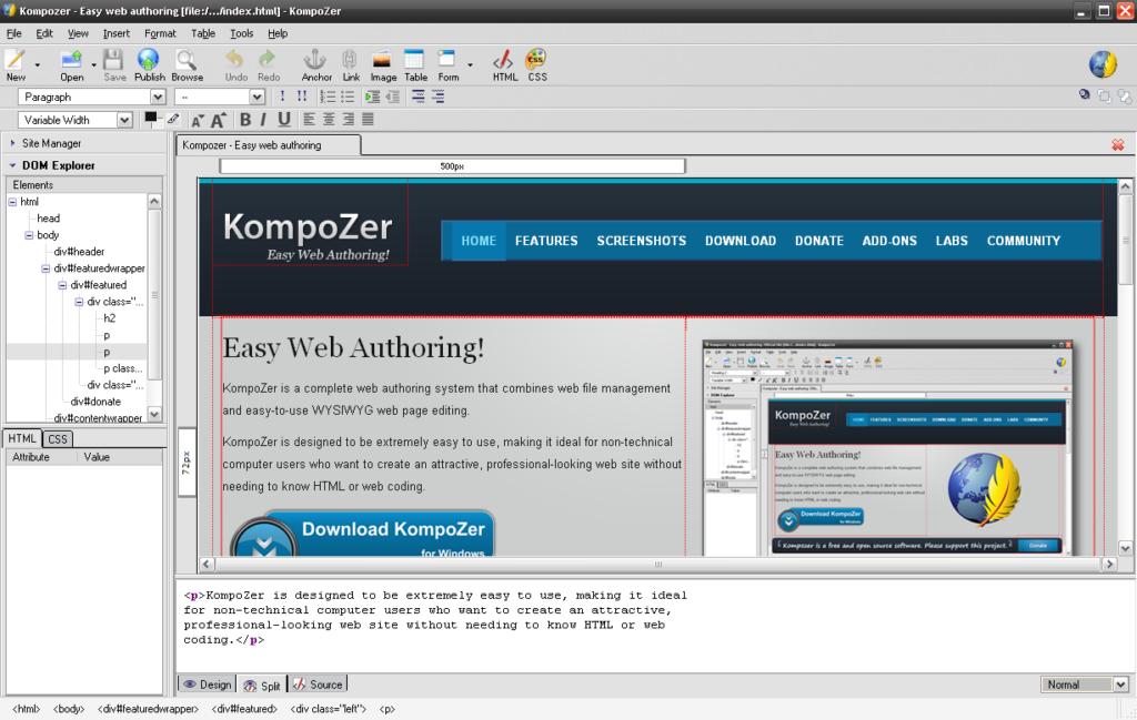 De interface van Kompozer is overzichtelijk en biedt veel functies.