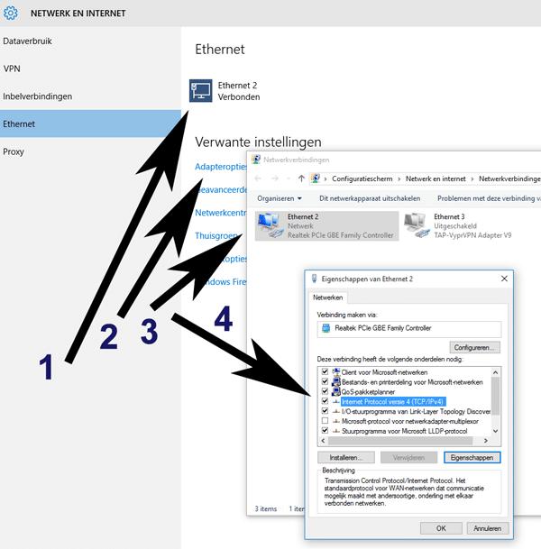 Volg deze stappen voor het wijzigen van de DNS servers in Windows 10.