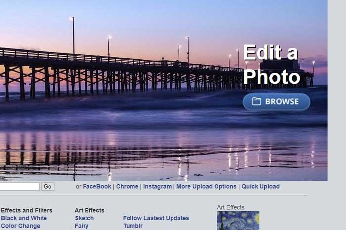 Met de 'browse' knop voeg je eenvoudig een foto toe aan LunaPic.