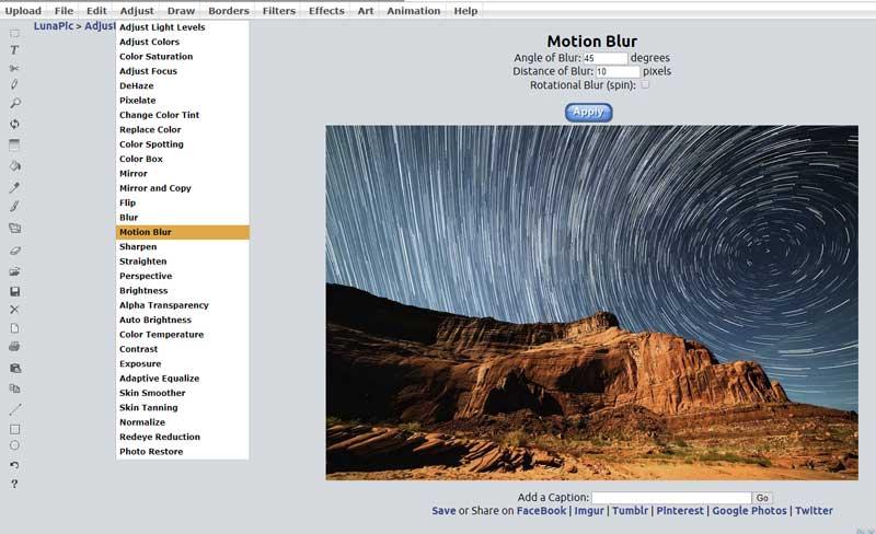 Optisch beweging toevoegen aan een afbeelding met 'Motion Blur'.