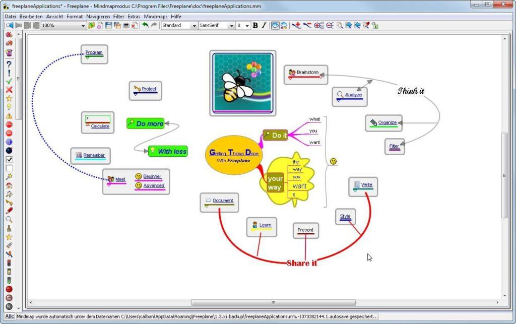 Een voorbeeld van een mindmap die met Freeplane gemaakt is.