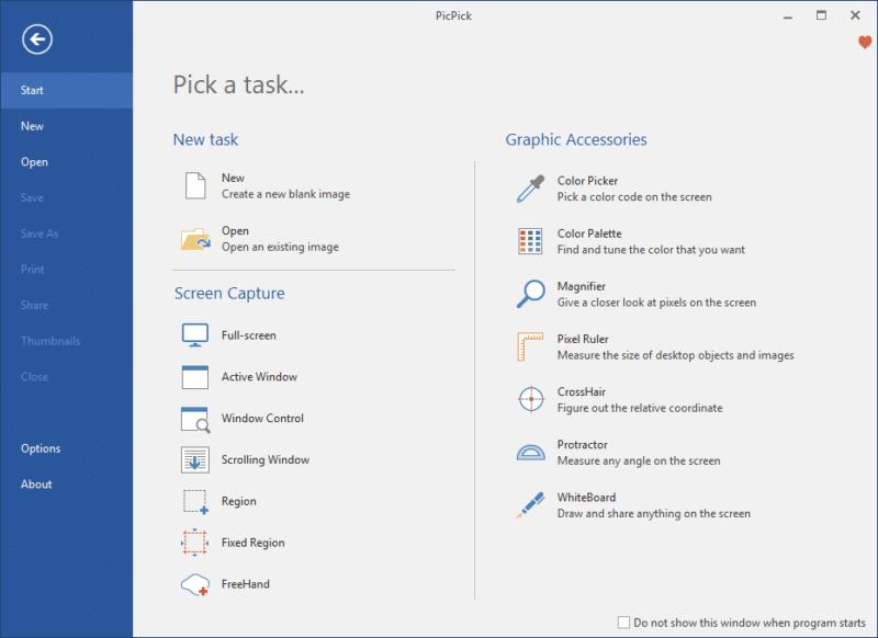 Het keuzemenu van PicPick heeft veel functies voor het maken van schermafbeeldingen.