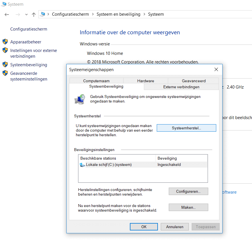 Systeemherstel in Windows 10 openen.