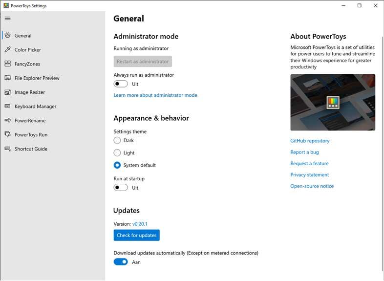 schermafbeelding review Microsoft Powertoys voor WIndows 10.